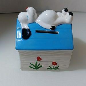Vintage dog house ceramic Japan piggy bank